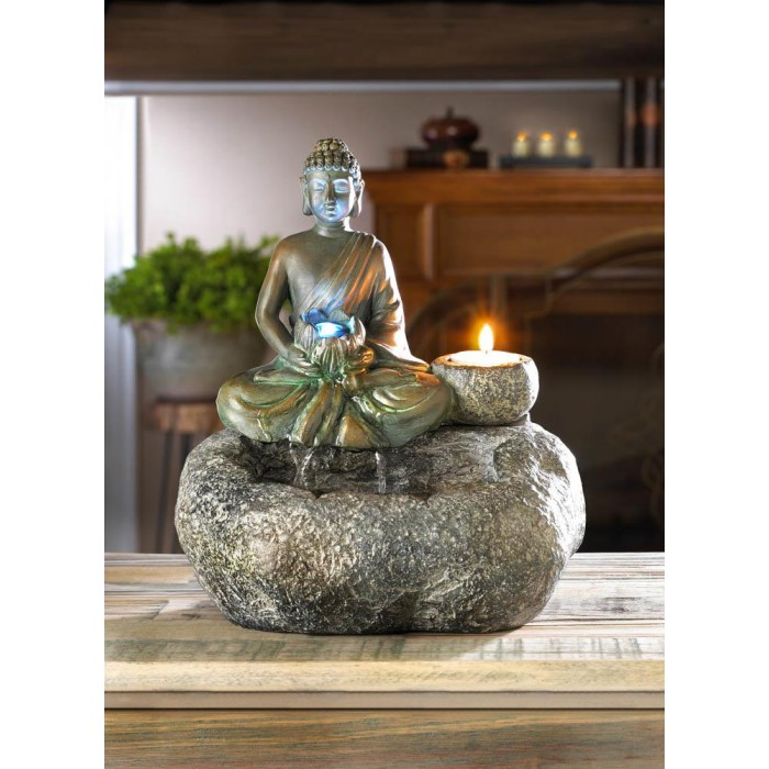Meditating Buddha Tabletop Water Fountain w// LED Light /& Tealight Candle Holder